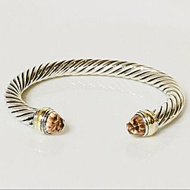 David Yurman Morganite Classic Cable Cuff Bracelet 14k Gold Sterling Silver