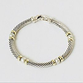 David Yurman Cultured Pearl Hampton Station Bracelet 925 Sterling Silver & 585 14k Gold