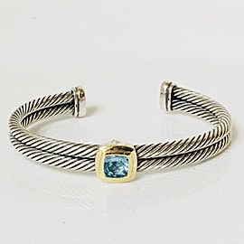 David Yurman Noblesse Cable Blue Topaz 925 Sterling Silver and 18k Gold Cuff Bracelet