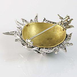 3.00 carat Ruby and Diamond 18k Gold Green Enamel Carnival Ornate Mask Brooch