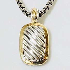 David Yurman Sterling Silver 18k Gold Elongated Albion Cable Enhancer Pendant Box Chain Necklace