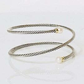 David Yurman Coil Cable Wrap Bracelet 18k Gold & 925 Sterling Silver and Cultured Pearl