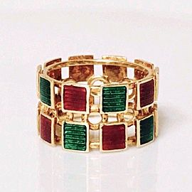 Gucci 18K Yellow Gold Enamel Ring Size 5.5