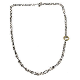 David Yurman Long Two Tone Interlocking Chain Necklace