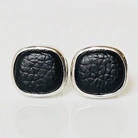 David Yurman Sterling Silver Black Leather Cushion Cuff Links Cufflinks