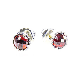 David Yurman Chatelaine Sterling Silver Garnet Earrings
