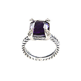 David Yurman Chatelaine Sterling Silver Black Orchid & Diamonds Ring Size 8