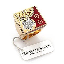 Nouvelle Bague 18K Rose Gold Enamel Diamond Ring Size 8.5