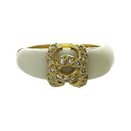 Cartier Vintage Ring 18K Yellow Gold White Coral Diamond Size 6