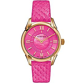 Versace Dafne VFF07 0013 Gold Tone Hot Pink Quartz 33MM Watch