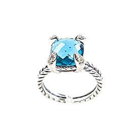 David Yurman Chatelaine Sterling Silver Topaz, Diamond Ring Size 8