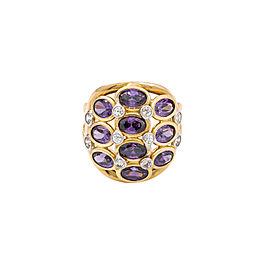14K Yellow Gold Zircon, Amethyst Ring Size 8