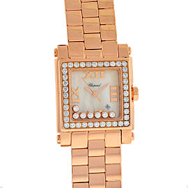 Chopard Happy Sport Square 18k Rose Gold 7 Floating Diamonds MOP Dial Watch
