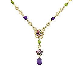 Bulgari 18K Yellow Gold Diamond Sapphire Amethyst Peridot Pendant Necklace