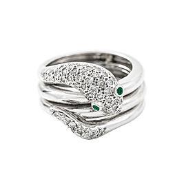 14K White Gold Emerald 0.65 Ct I SI2 Single Cut Diamonds Snake Ring Size 6
