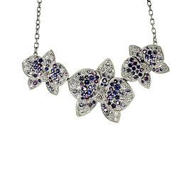 Cartier Caresse D'Orchidees 18K White Gold Diamond Sapphire Amethyst Necklace