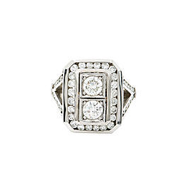 Vintage Style 14K White Gold 1.57Ct Diamond Cocktail Ring 14.9 Grams Size 7 UNI