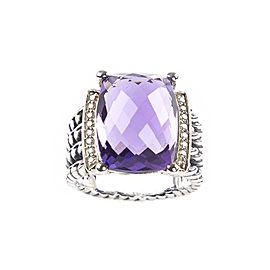 David Yurman Wheaton Sterling Silver Amethyst Diamond Ring Size 6.5
