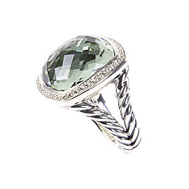 David Yurman Albion Sterling Silver Prasiolite Diamond Ring Size 8