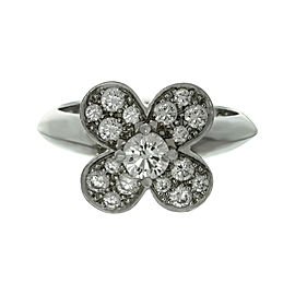 Van Cleef & Arpels Trefle 18K White Gold Diamond Ring Size 5.5