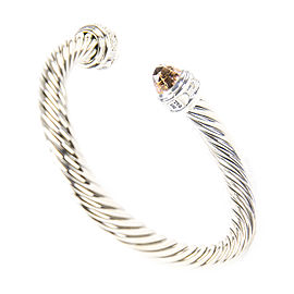 David Yurman Cable Classics Sterling Silver Morganite Diamond Bracelet