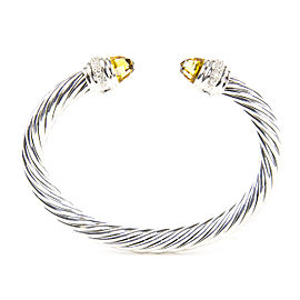 David Yurman Cable Classics Sterling Silver Citrine Diamond Bracelet