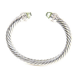 David Yurman Cable Classics Sterling Silver Prasiolite Diamond Bracelet