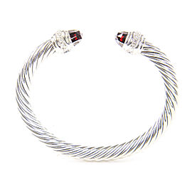 David Yurman Cable Classics Sterling Silver Garnet Diamond Bracelet