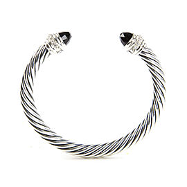 David Yurman Cable Classics Sterling Silver Onyx Diamond Bracelet