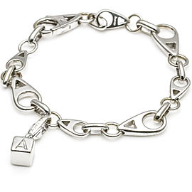 Asprey 18K White Gold Bracelet with Letter A Cube Die Charm