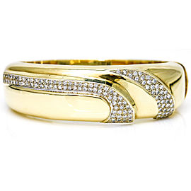 2.18 Carat 14 Karat Gold Pave Diamond Bangle Bracelet