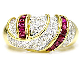 18 Karat Gold 1.80 Carat Diamond Ruby Band Ring Size 9.5