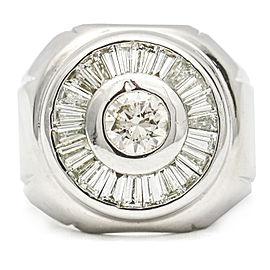 2.35 Carat 18K White Gold Diamond Cluster Ring Size 6.25