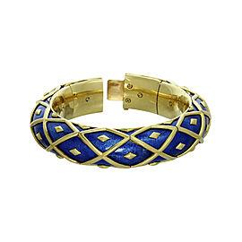 Tiffany & Co. Schlumberger 18K Yellow Gold Blue Enamel Bracelet