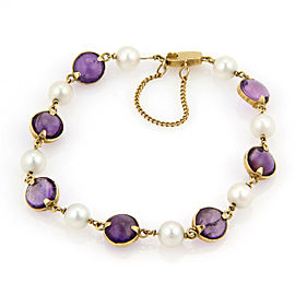 18K Yellow Gold Amethyst, Cultured Pearl Bracelet