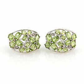 Omega 14K White Gold Peridot, Diamond Earrings