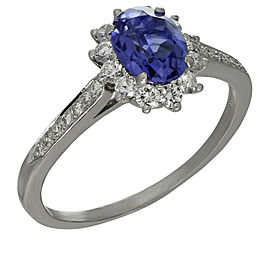 Tiffany & Co. Platinum Tanzanite Diamond Ring Size 9