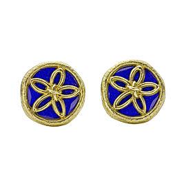 Tiffany & Co. Schlumberger 18K Yellow Gold Blue Enamel Earrings