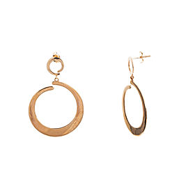 14K Solid Rose Gold Dangle Hoop Earrings 5.2 Grams 28.5 mm