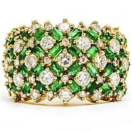 4.10 Carat Yellow Gold Diamond Emerald 14k Wide Band Ring