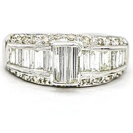 1.50 Carat Baguette Diamond 18k White Gold Band Ring