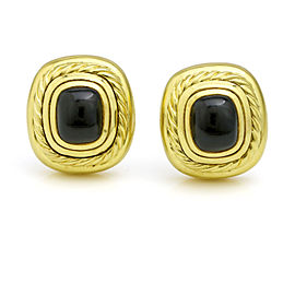 David Yurman 18k Yellow Gold Vintage Onyx Albion Large Stud Earrings
