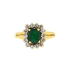 14k Yellow Gold Emerald Diamond Ring Approx .80 Cts