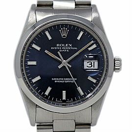 Rolex Oyster Perpetual Date 15000 34mm Steel Black Index Automatic 2YrWTY #I2487