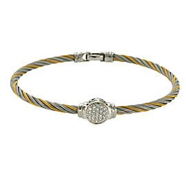 Philippe Charriol 18k Gold & Tow Tone Steel 0.22 CT Diamonds Cable Bracelet 7""
