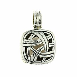 David Yurman 925 Silver 18K Gold Diamond Smoke Topaz 14mm Albion Pendant