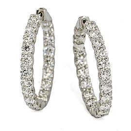 9.82 Carat 18 Karat White Gold Diamond Hoop Earrings