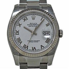 Rolex Datejust 36mm 116234 Steel White Gold White