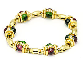 18.34 Carat Chrome Tourmaline Rubelite Diamond 18k Yellow Gold Bracelet