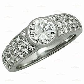 Authentic CARTIER Solitaire Diamond Pave 18k White Gold Ring GIA EGL Box